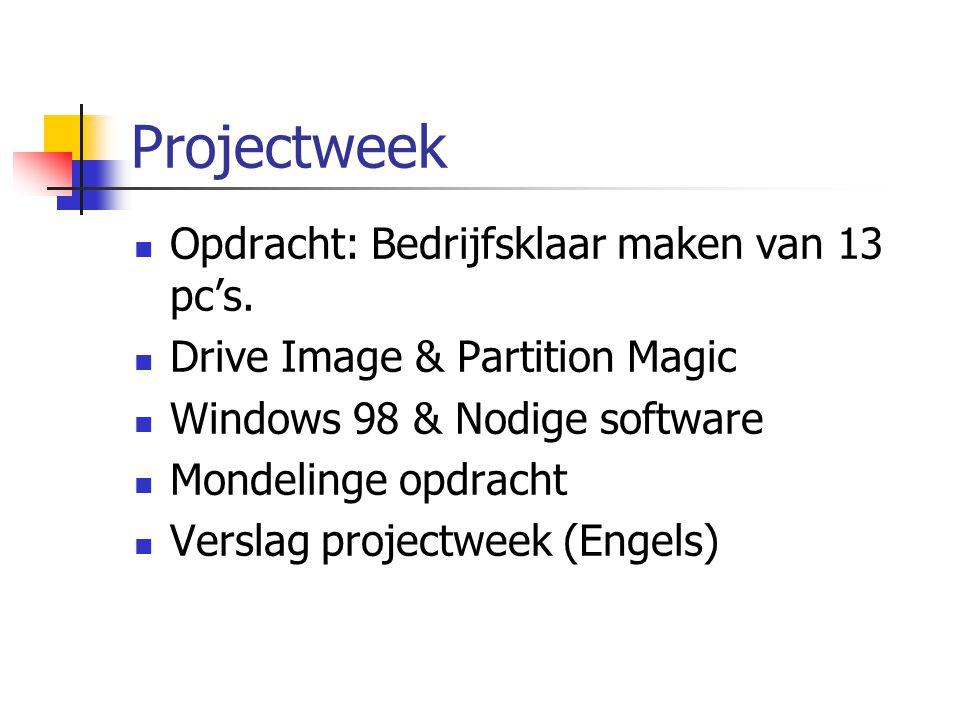Projectweek Opdracht: Bedrijfsklaar maken van 13 pc's. Drive Image & Partition Magic Windows 98 & Nodige software Mondelinge opdracht Verslag projectw