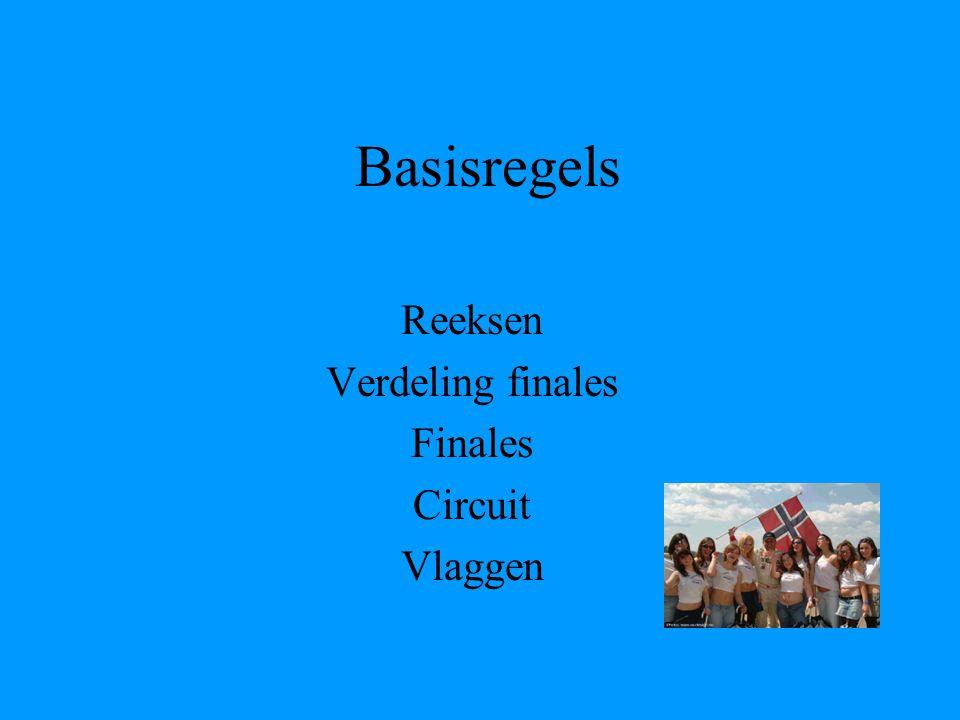 Basisregels Reeksen Verdeling finales Finales Circuit Vlaggen