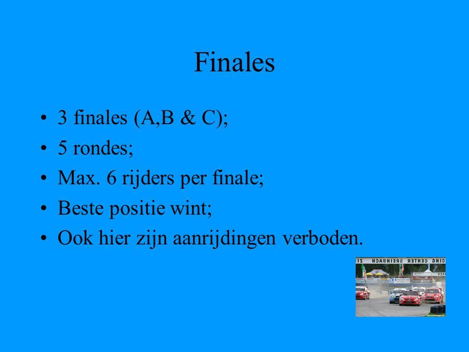 Verdeling finales Punten voor 2 snelste tijden van reeksen => 1 schrapresultaat; Hoe beter je tijd, hoe minder punten; Hoe minder punten, hoe beter je startpositie; Winnaar van vorige finale start achteraan.