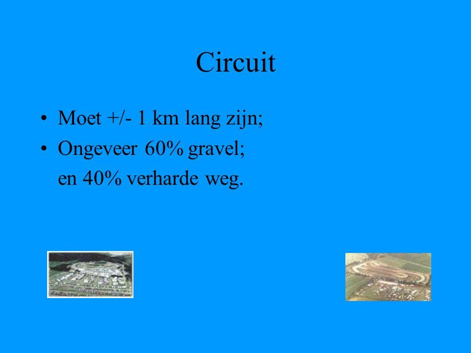 Circuit Moet +/- 1 km lang zijn; Ongeveer 60% gravel; en 40% verharde weg.