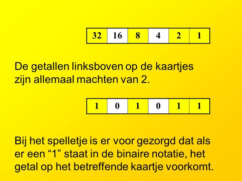 1357911 131517192123 25272931 33353739 414345474951 535557596163 (1=2 0 ) Staat het getal (43) op dit kaartje ? Ja, het getal linksboven (1) doet mee.