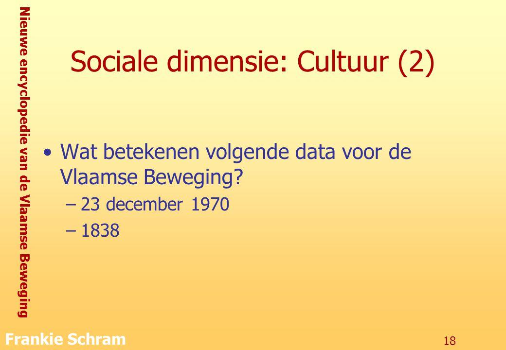 Nieuwe encyclopedie van de Vlaamse Beweging Frankie Schram 18 Sociale dimensie: Cultuur (2) Wat betekenen volgende data voor de Vlaamse Beweging.