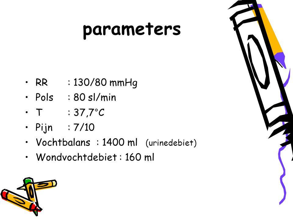 parameters RR: 130/80 mmHg Pols: 80 sl/min T: 37,7°C Pijn: 7/10 Vochtbalans : 1400 ml (urinedebiet) Wondvochtdebiet : 160 ml