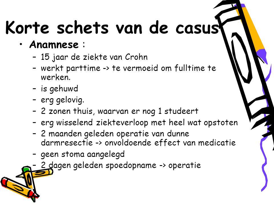 Korte schets van de casus Anamnese : –15 jaar de ziekte van Crohn –werkt parttime -> te vermoeid om fulltime te werken.