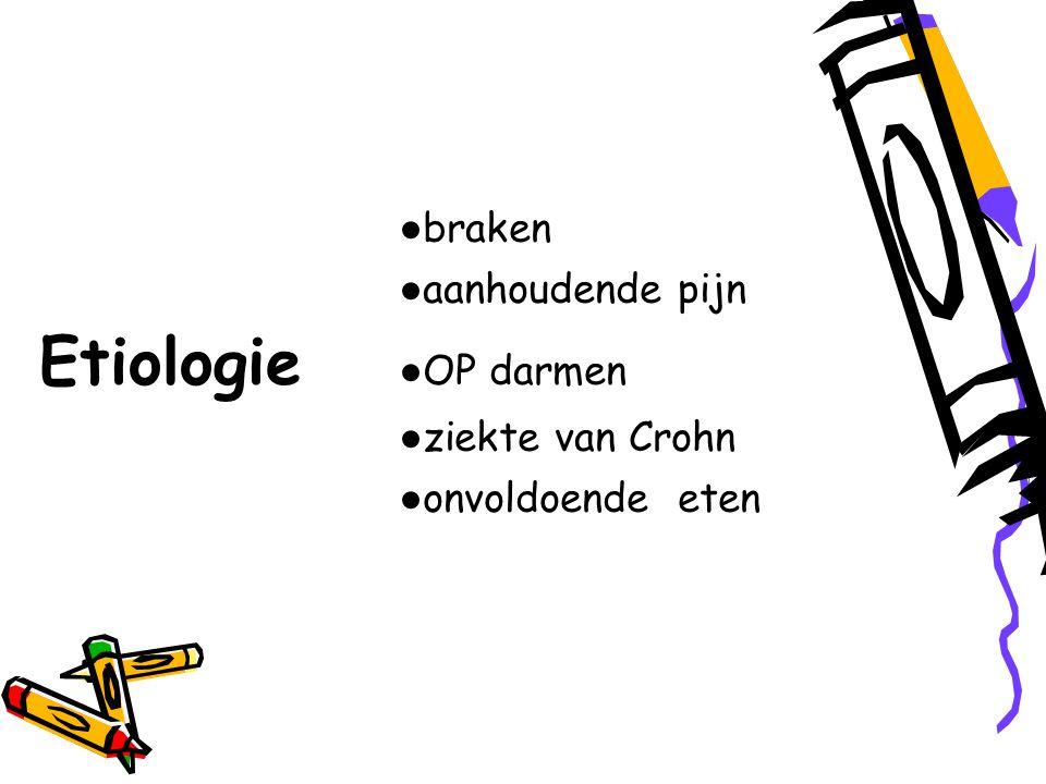 ● braken ● aanhoudende pijn Etiologie ● OP darmen ● ziekte van Crohn ● onvoldoende eten