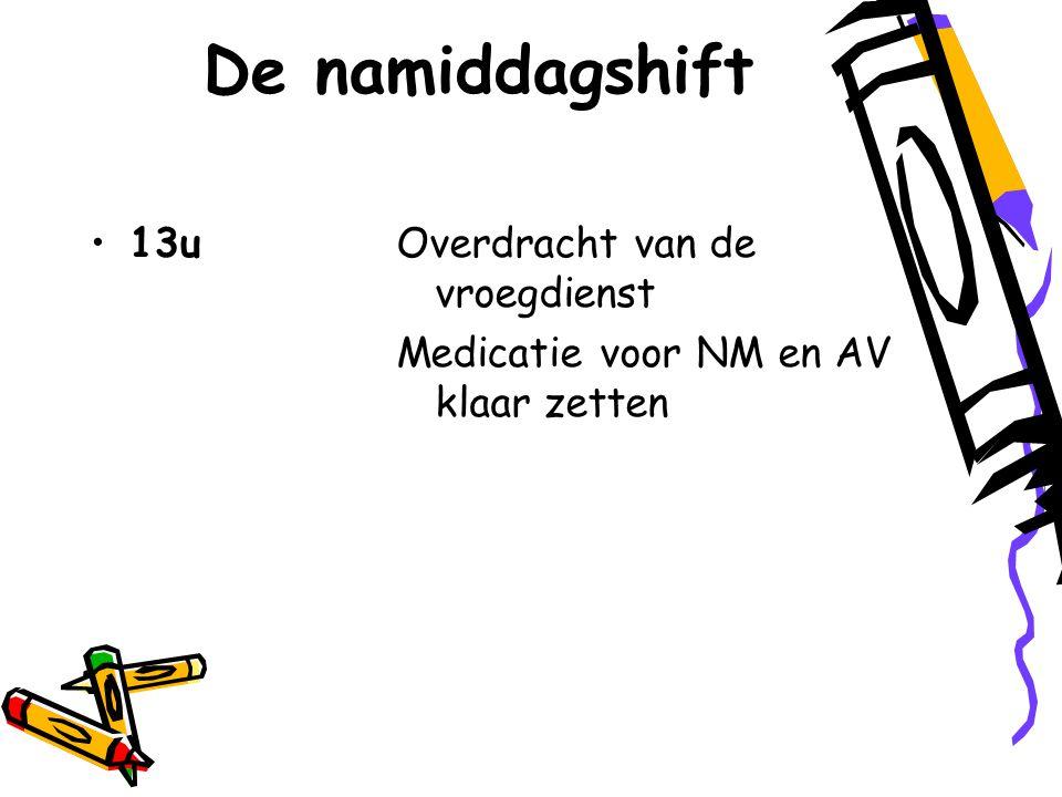 De namiddagshift 13uOverdracht van de vroegdienst Medicatie voor NM en AV klaar zetten