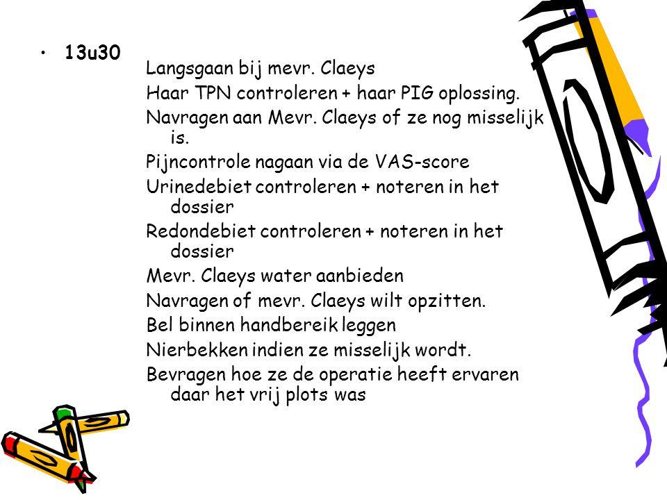 13u30 Langsgaan bij mevr.Claeys Haar TPN controleren + haar PIG oplossing.