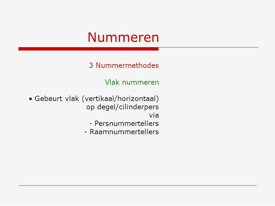 Nummeren 3 Nummermethodes Vlak nummeren Gebeurt vlak (vertikaal/horizontaal) op degel/cilinderpers via - Persnummertellers - Raamnummertellers