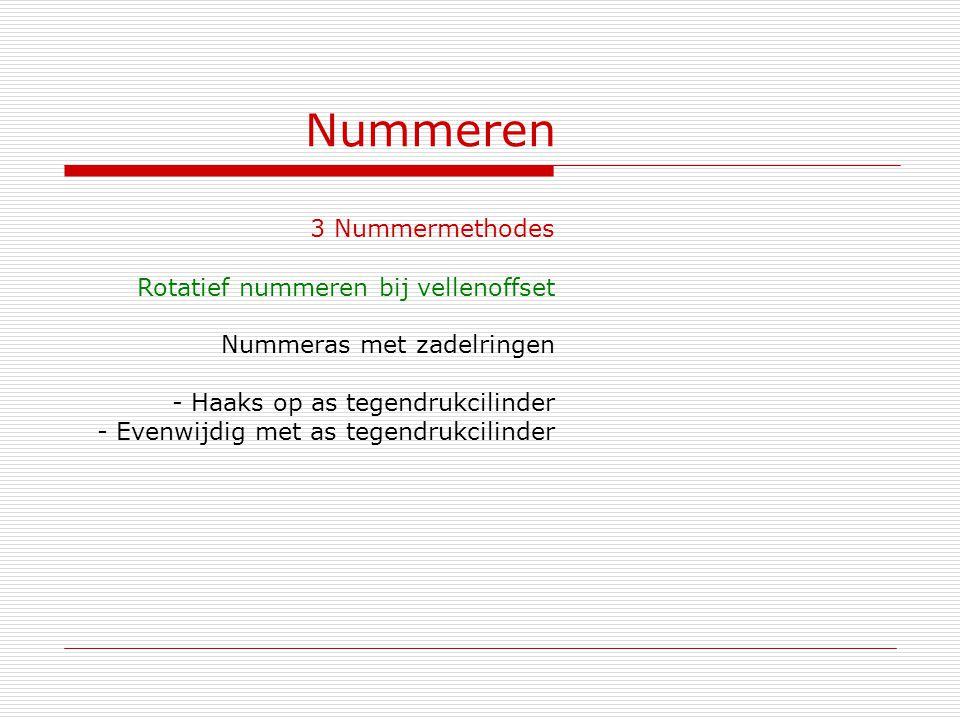 Nummeren 3 Nummermethodes Rotatief nummeren bij vellenoffset Nummeras met zadelringen - Haaks op as tegendrukcilinder - Evenwijdig met as tegendrukcil