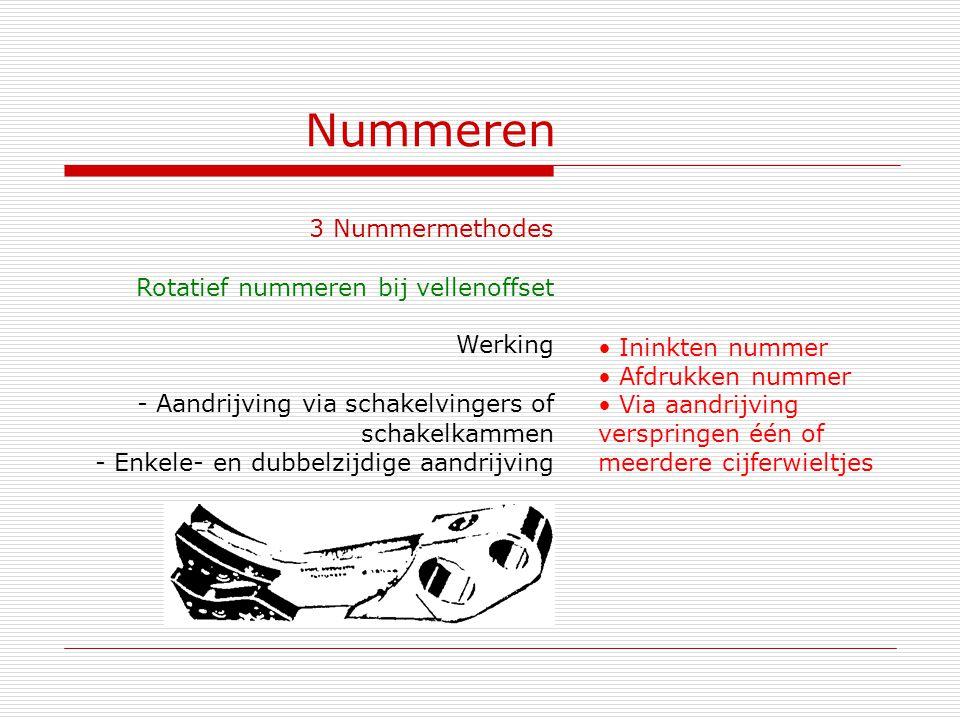 Nummeren 3 Nummermethodes Rotatief nummeren bij vellenoffset Werking Ininkten nummer Afdrukken nummer Via aandrijving verspringen één of meerdere cijf