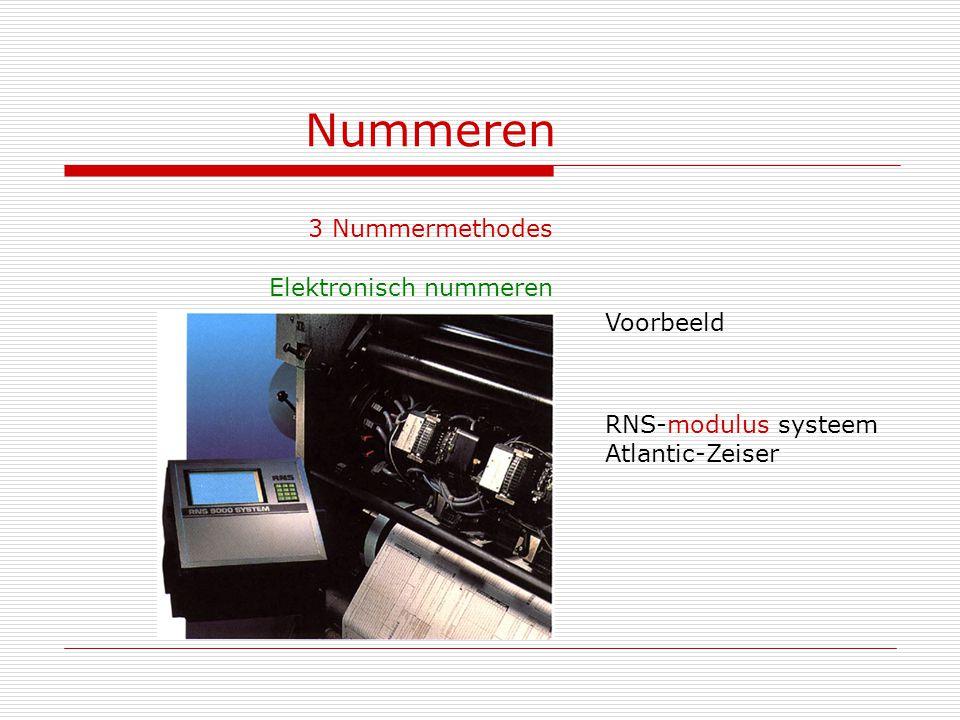 Nummeren 3 Nummermethodes Elektronisch nummeren Voorbeeld RNS-modulus systeem Atlantic-Zeiser