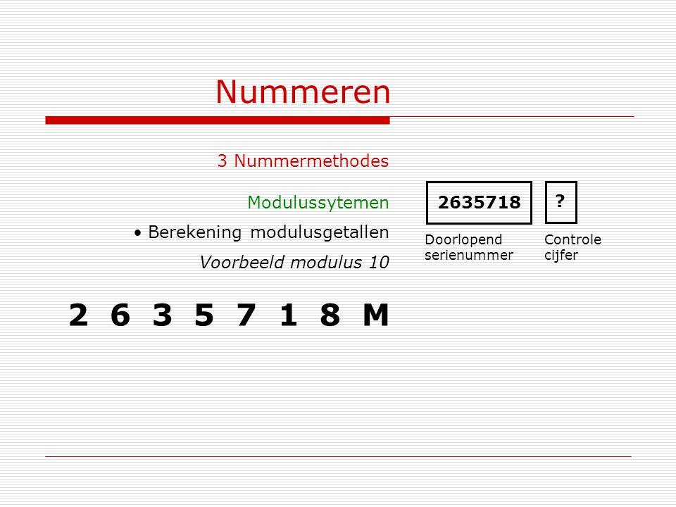 Nummeren 3 Nummermethodes Modulussytemen Berekening modulusgetallen Voorbeeld modulus 10 2635718 Doorlopend serienummer Controle cijfer ? 2 6 3 5 7 1