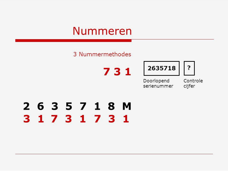 Nummeren 3 Nummermethodes 2 6 3 5 7 1 8 M 2635718 Doorlopend serienummer Controle cijfer ? 7 3 1 3 1