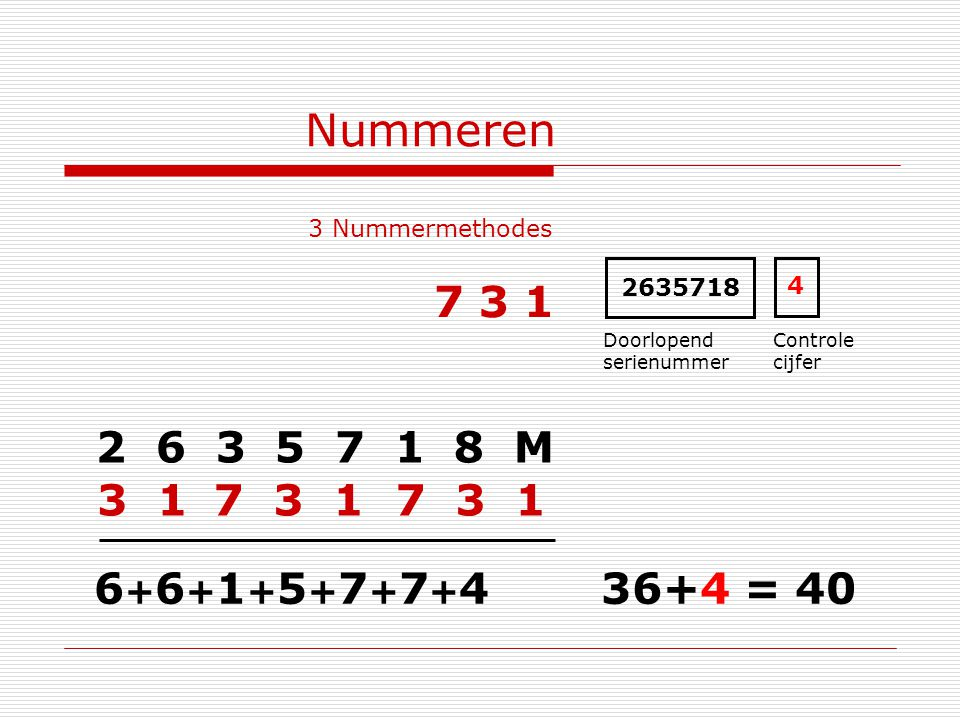 Nummeren 3 Nummermethodes 2 6 3 5 7 1 8 M 2635718 Doorlopend serienummer Controle cijfer 7 3 1 6+6+1+5+7+7+46+6+1+5+7+7+4 3 1 36+4 = 40 4