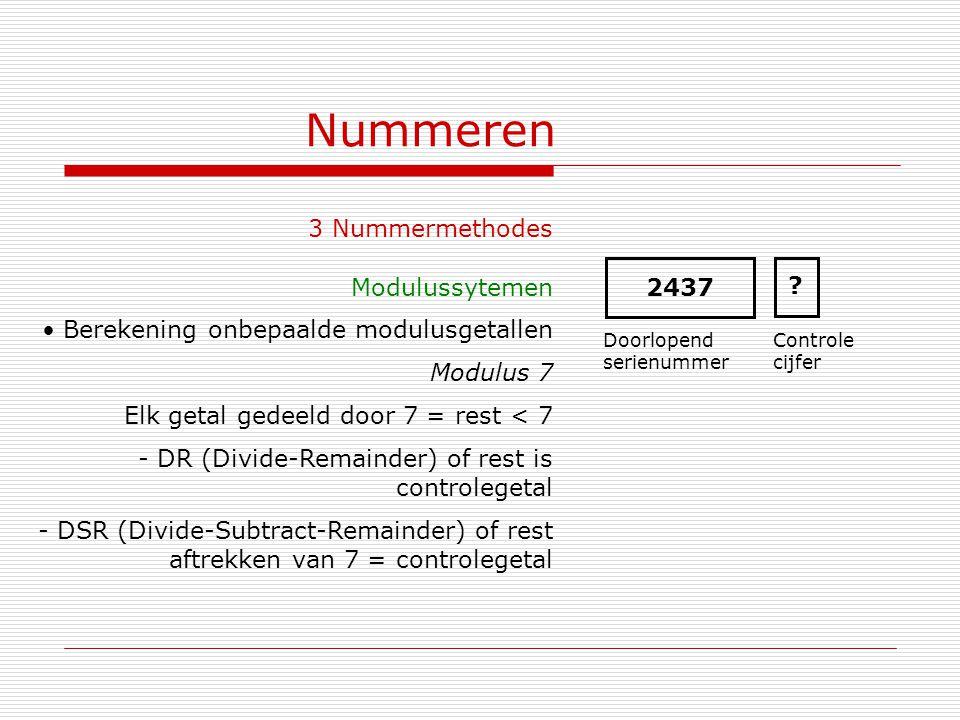 Nummeren 3 Nummermethodes Modulussytemen Berekening onbepaalde modulusgetallen Modulus 7 Elk getal gedeeld door 7 = rest < 7 - DR (Divide-Remainder) o
