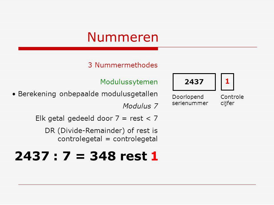 Nummeren 3 Nummermethodes Modulussytemen Berekening onbepaalde modulusgetallen Modulus 7 Elk getal gedeeld door 7 = rest < 7 DR (Divide-Remainder) of
