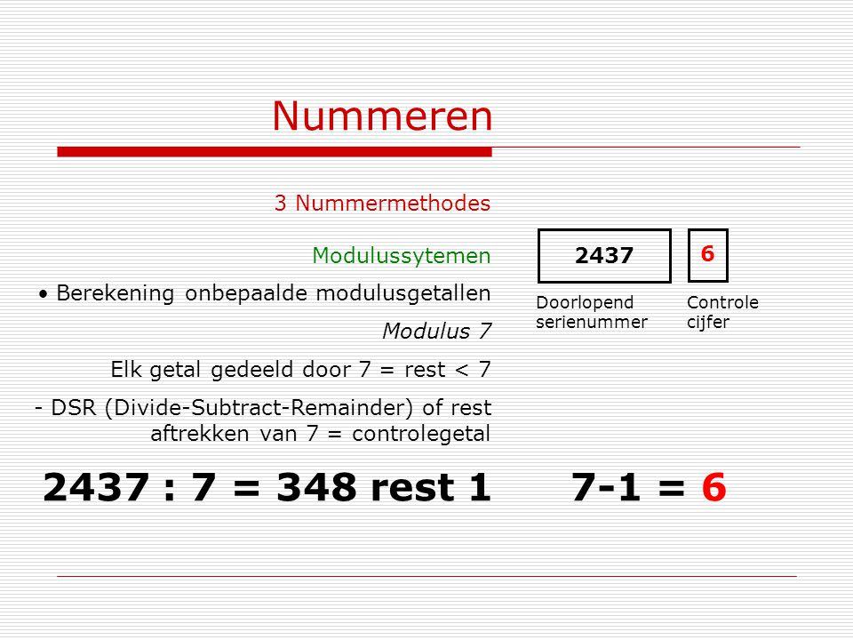 Nummeren 3 Nummermethodes Modulussytemen Berekening onbepaalde modulusgetallen Modulus 7 Elk getal gedeeld door 7 = rest < 7 - DSR (Divide-Subtract-Re