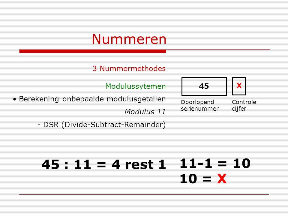 Nummeren 3 Nummermethodes Modulussytemen Berekening onbepaalde modulusgetallen Modulus 11 - DSR (Divide-Subtract-Remainder) 45 Doorlopend serienummer