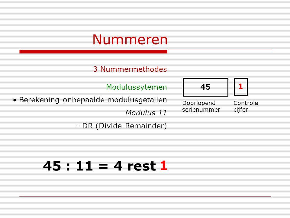 Nummeren 3 Nummermethodes Modulussytemen Berekening onbepaalde modulusgetallen Modulus 11 - DR (Divide-Remainder) 45 Doorlopend serienummer Controle c