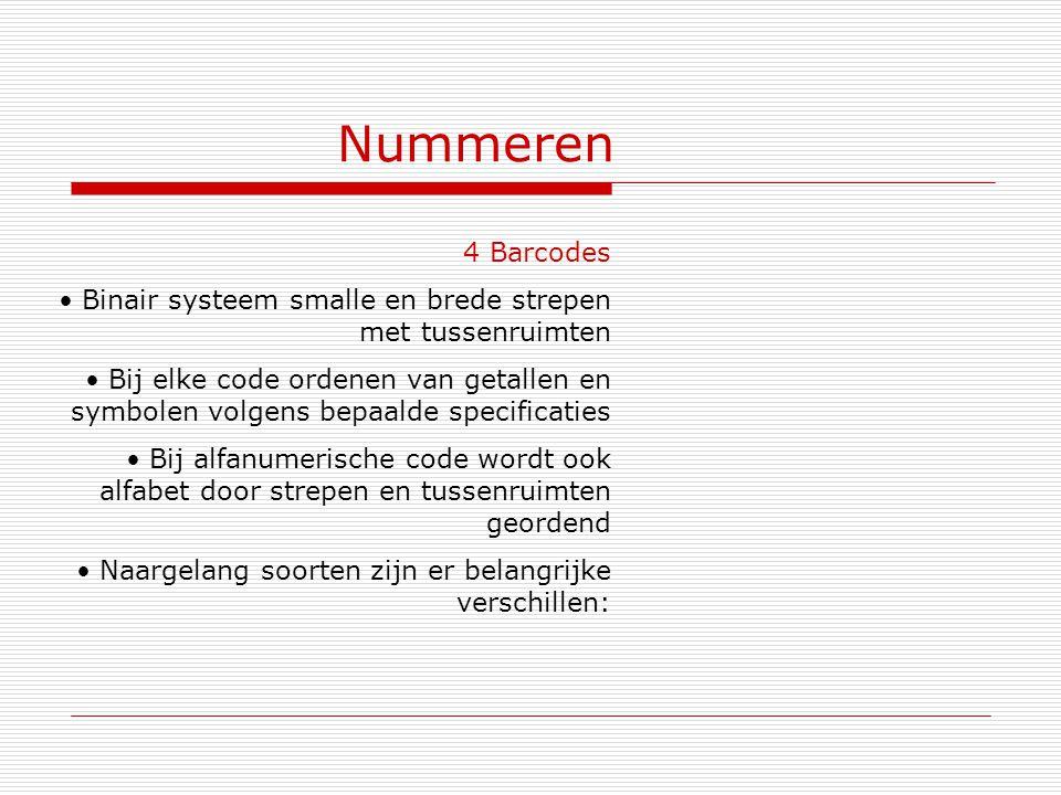 Nummeren 4 Barcodes Binair systeem smalle en brede strepen met tussenruimten Bij elke code ordenen van getallen en symbolen volgens bepaalde specifica