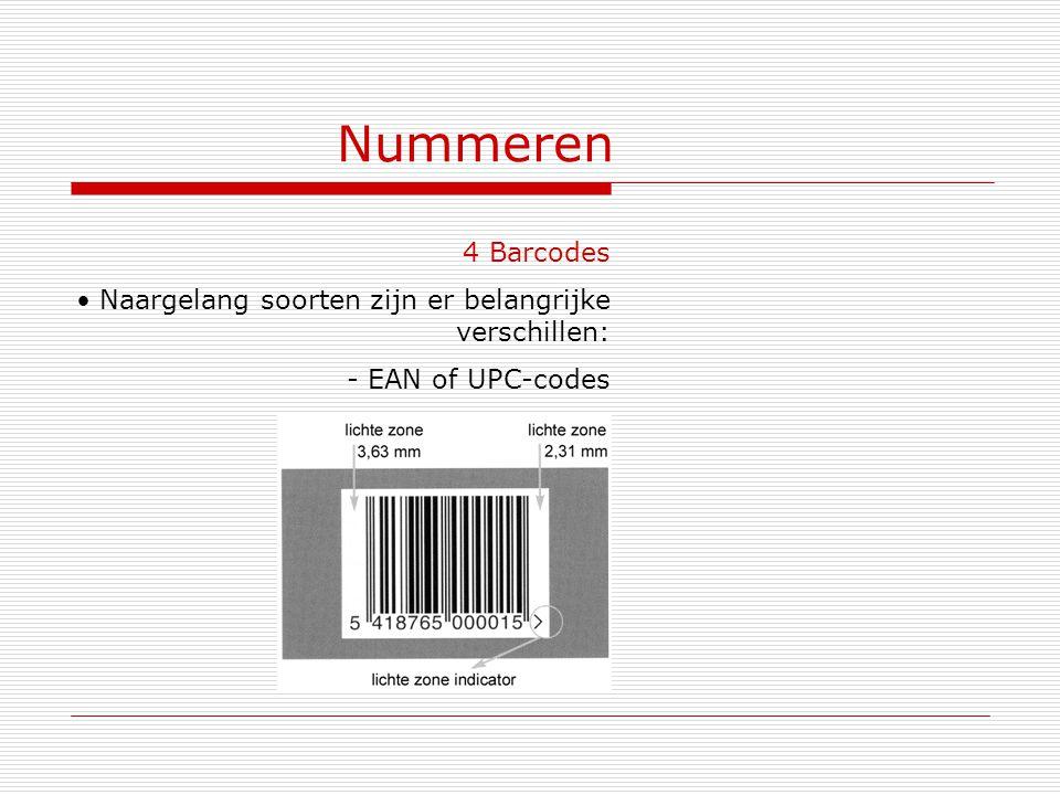 Nummeren 4 Barcodes Naargelang soorten zijn er belangrijke verschillen: - EAN of UPC-codes