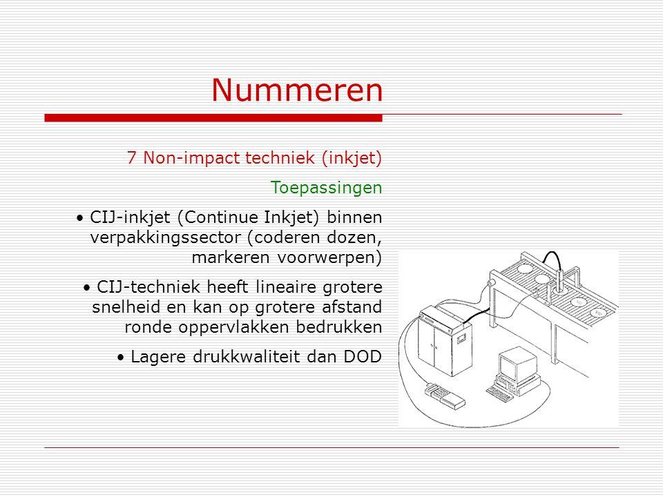 Nummeren 7 Non-impact techniek (inkjet) Toepassingen CIJ-inkjet (Continue Inkjet) binnen verpakkingssector (coderen dozen, markeren voorwerpen) CIJ-te