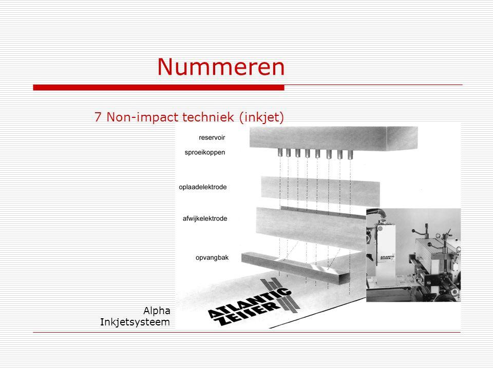 Nummeren 7 Non-impact techniek (inkjet) Alpha Inkjetsysteem