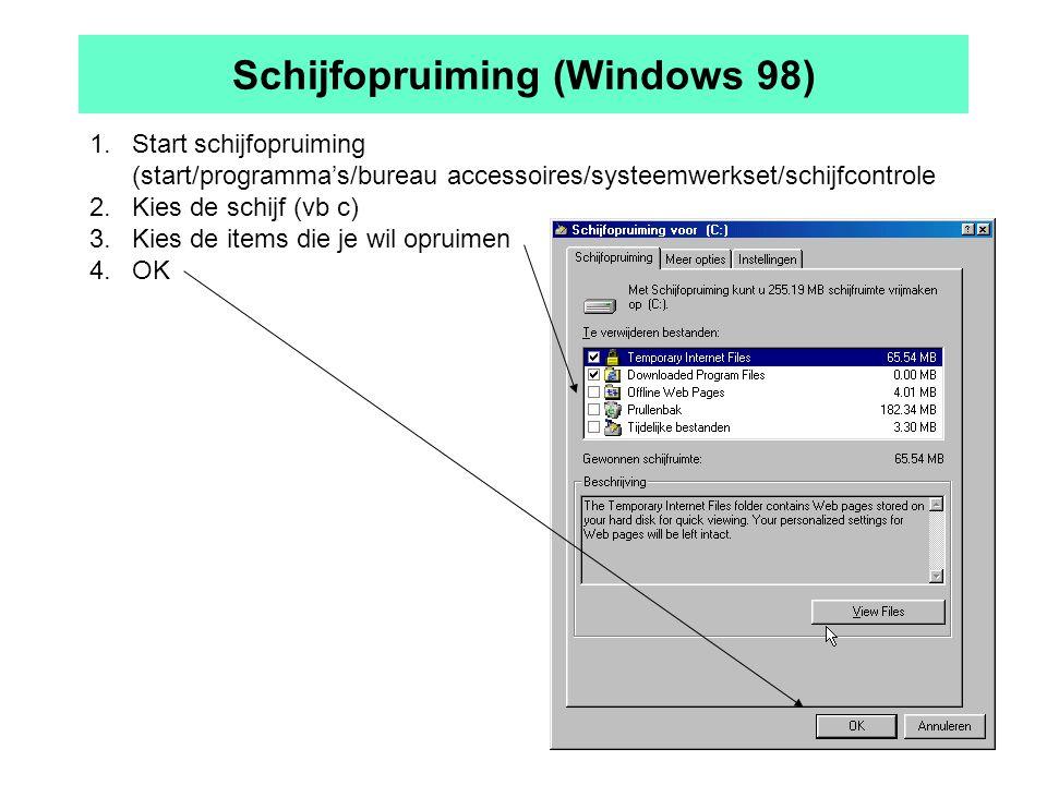 Schijfopruiming (Windows 98) 1.Start schijfopruiming (start/programma's/bureau accessoires/systeemwerkset/schijfcontrole 2.Kies de schijf (vb c) 3.