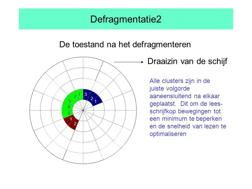 Defragmentatie2 De toestand na het defragmenteren Alle clusters zijn in de juiste volgorde aaneensluitend na elkaar geplaatst.