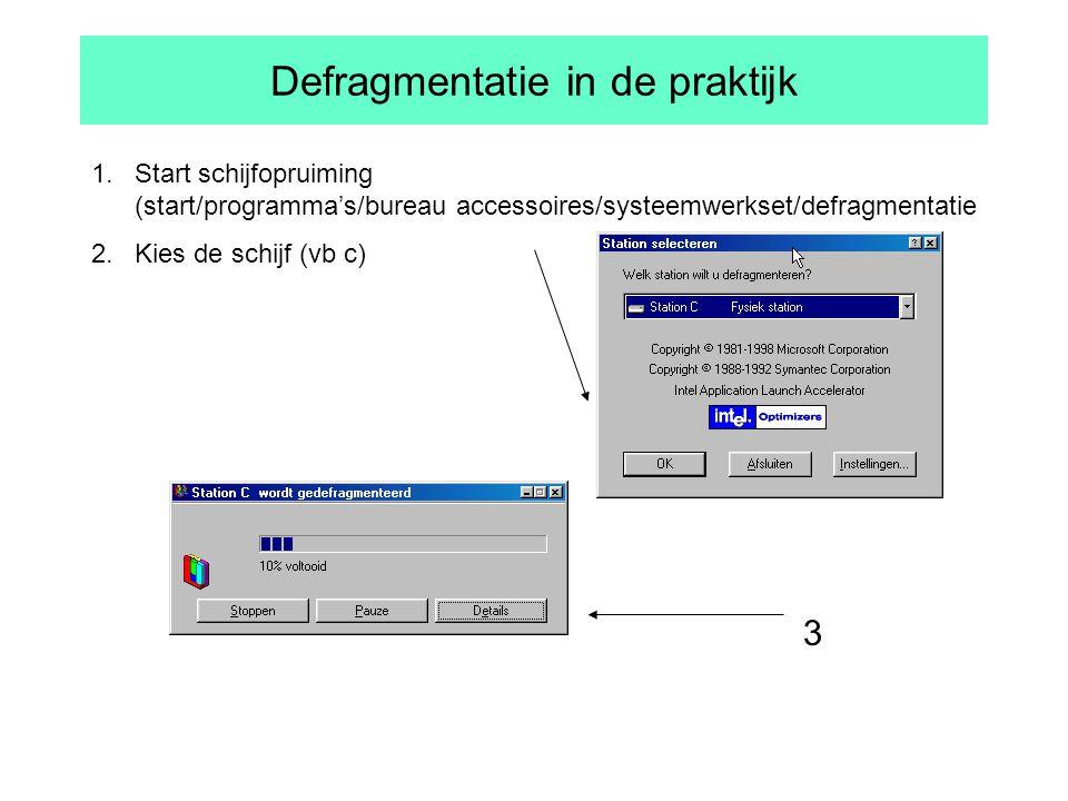 Defragmentatie in de praktijk 1.Start schijfopruiming (start/programma's/bureau accessoires/systeemwerkset/defragmentatie 2.Kies de schijf (vb c) 3
