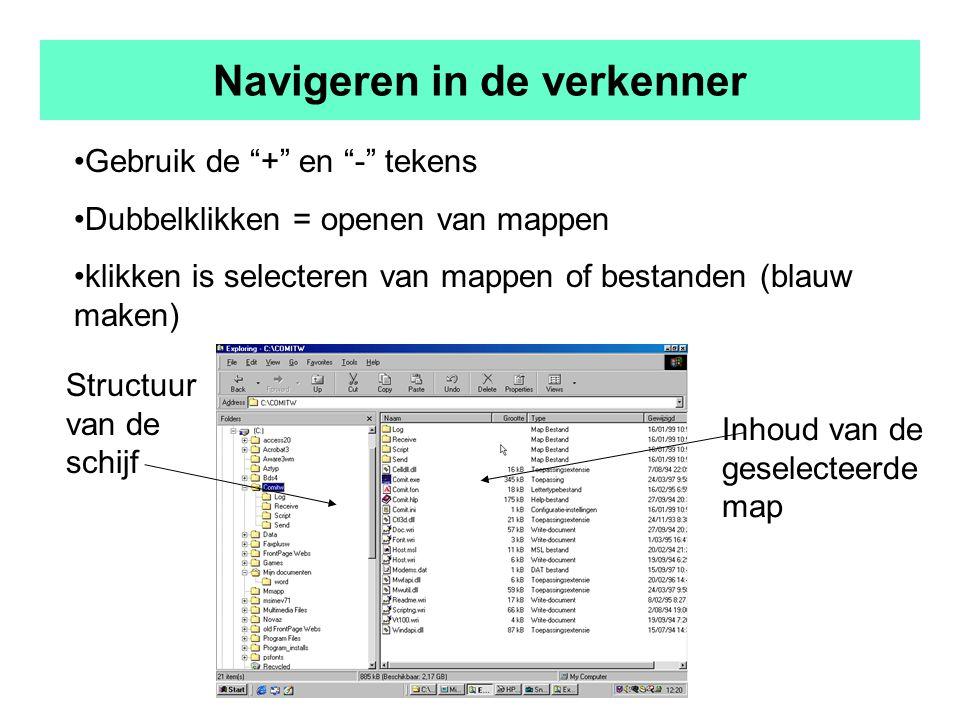 Navigeren in de verkenner Gebruik de + en - tekens Dubbelklikken = openen van mappen klikken is selecteren van mappen of bestanden (blauw maken) Structuur van de schijf Inhoud van de geselecteerde map