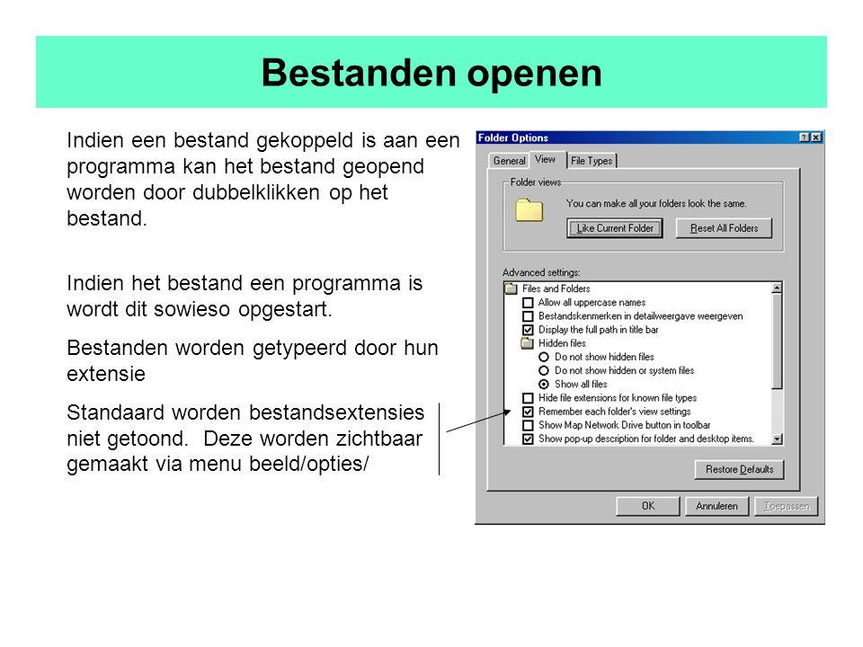 Bestanden openen Indien een bestand gekoppeld is aan een programma kan het bestand geopend worden door dubbelklikken op het bestand.