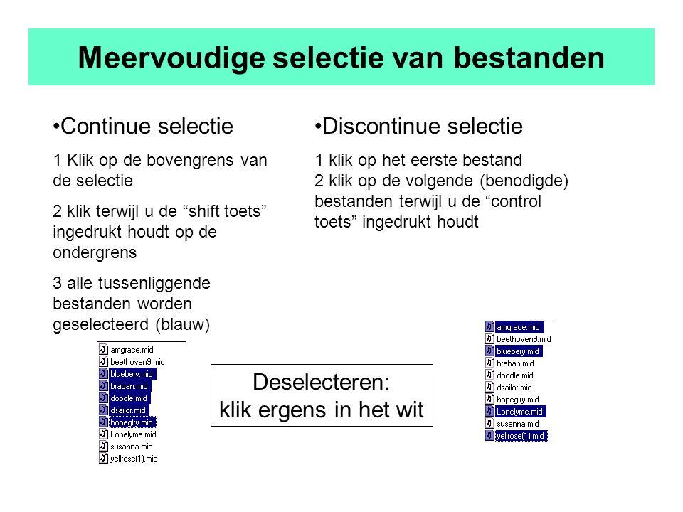 Meervoudige selectie van bestanden Continue selectie 1 Klik op de bovengrens van de selectie 2 klik terwijl u de shift toets ingedrukt houdt op de ondergrens 3 alle tussenliggende bestanden worden geselecteerd (blauw) Discontinue selectie 1 klik op het eerste bestand 2 klik op de volgende (benodigde) bestanden terwijl u de control toets ingedrukt houdt Deselecteren: klik ergens in het wit