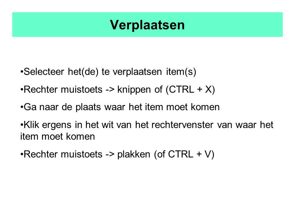 Verplaatsen Selecteer het(de) te verplaatsen item(s) Rechter muistoets -> knippen of (CTRL + X) Ga naar de plaats waar het item moet komen Klik ergens in het wit van het rechtervenster van waar het item moet komen Rechter muistoets -> plakken (of CTRL + V)