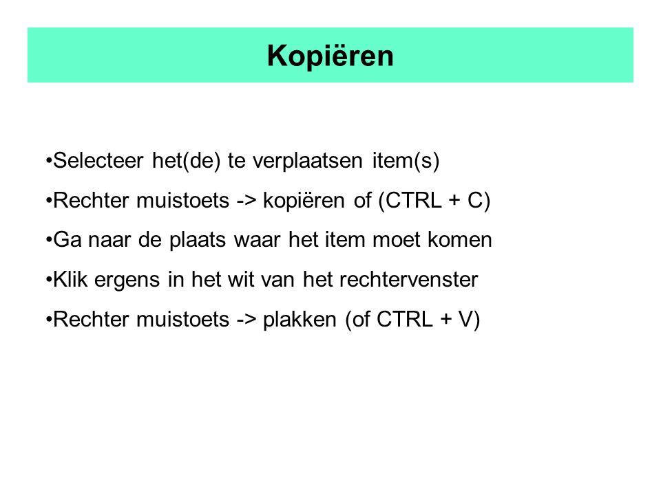 Kopiëren Selecteer het(de) te verplaatsen item(s) Rechter muistoets -> kopiëren of (CTRL + C) Ga naar de plaats waar het item moet komen Klik ergens in het wit van het rechtervenster Rechter muistoets -> plakken (of CTRL + V)