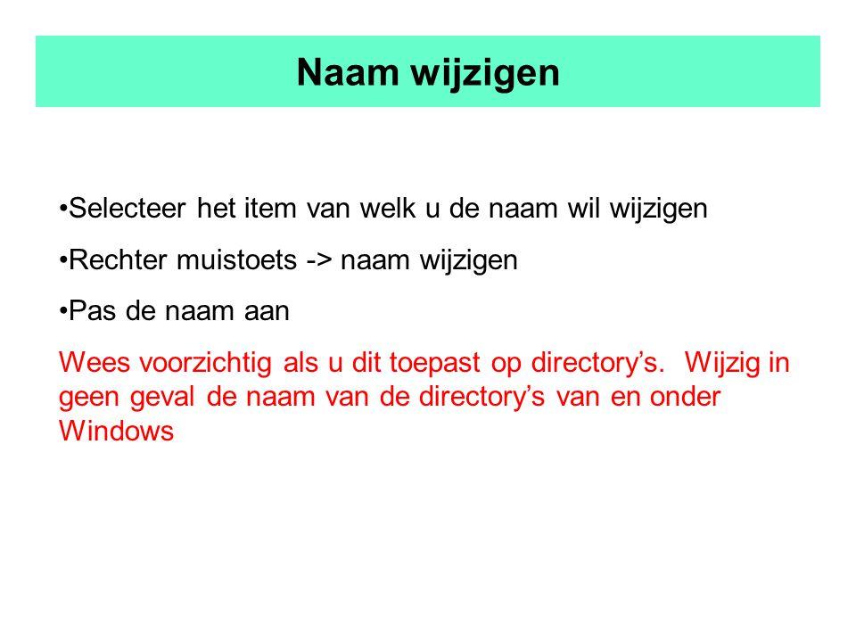 Naam wijzigen Selecteer het item van welk u de naam wil wijzigen Rechter muistoets -> naam wijzigen Pas de naam aan Wees voorzichtig als u dit toepast op directory's.