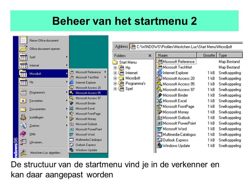 Beheer van het startmenu 2 De structuur van de startmenu vind je in de verkenner en kan daar aangepast worden