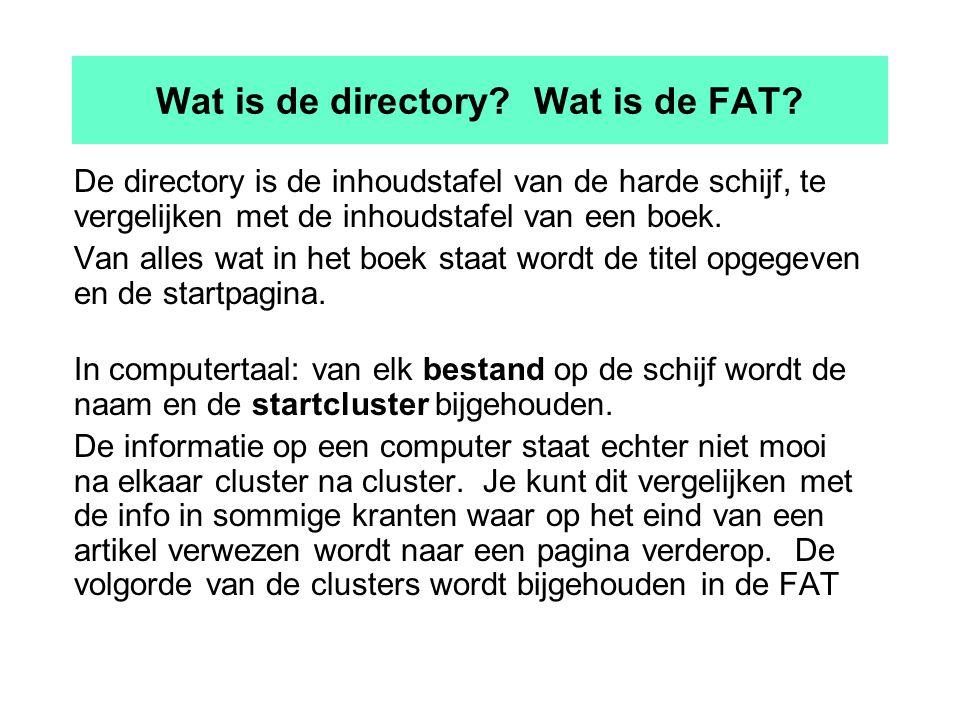Wat is de directory. Wat is de FAT.