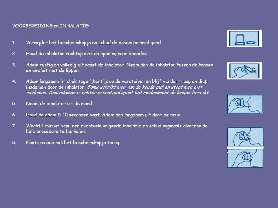 VOORBEREIDING en INHALATIE: schud 1.Verwijder het beschermkapje en schud de doseeraërosol goed. 2.Houd de inhalator rechtop met de opening naar benede