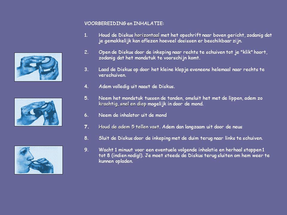 VOORBEREIDING en INHALATIE: horizontaal 1.Houd de Diskus horizontaal met het opschrift naar boven gericht, zodanig dat je gemakkelijk kan aflezen hoev