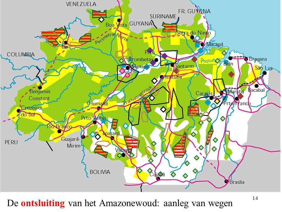 13 De economische troeven van het Amazonewoud Houtontginning Uitgestrekte, nog niet ontgonnen landbouwgronden (akkerbouw + veeteelt) Aanwezigheid van