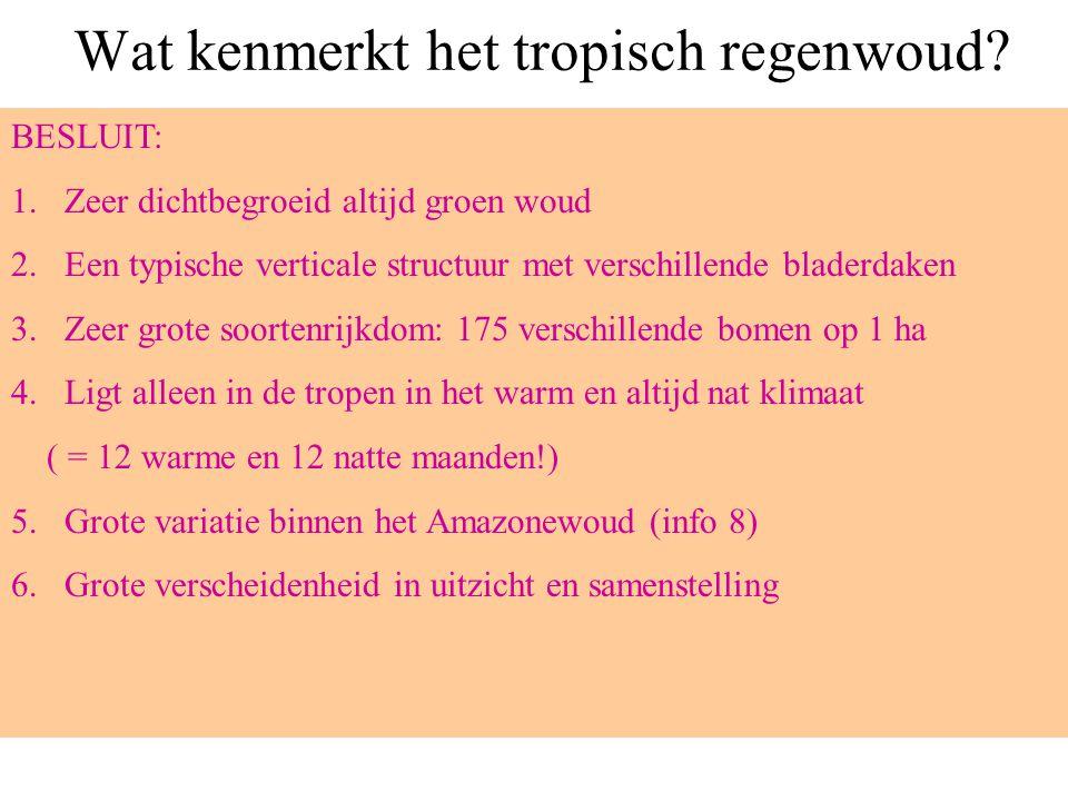 De structuur van het regenwoud Doorgroeiers = woudreuzen Kroonlaag Lage boomgroei Struiken Lianen Kruiden, varens, mossen