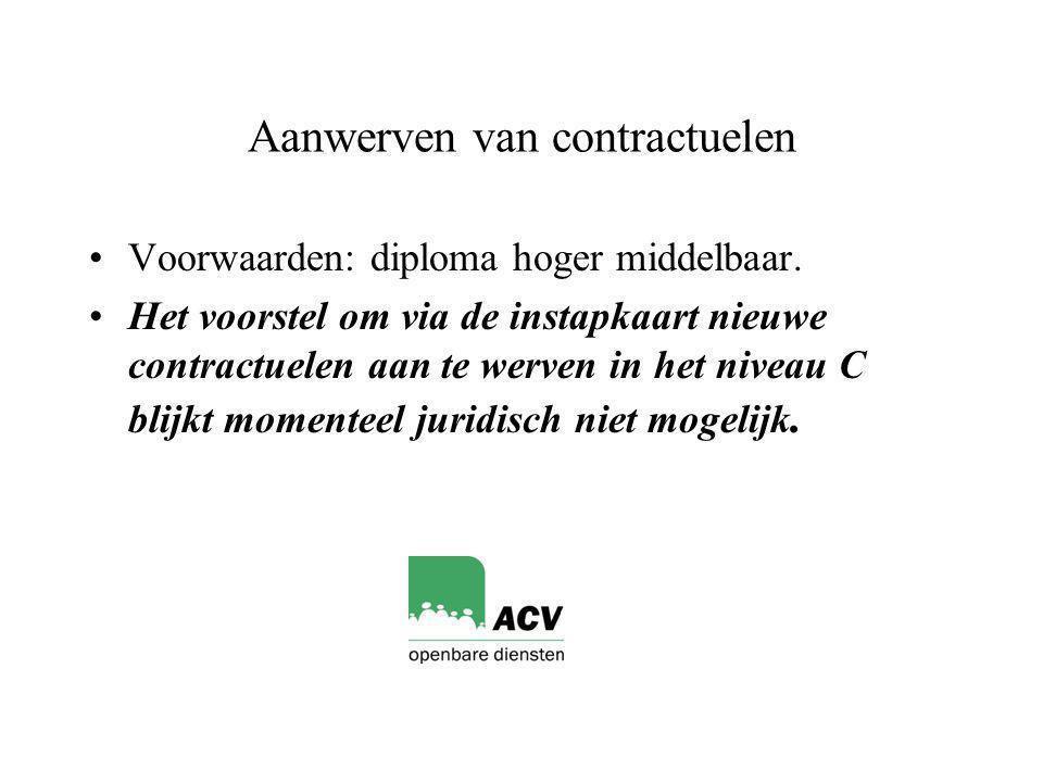 Aanwerven van contractuelen Voorwaarden: diploma hoger middelbaar.