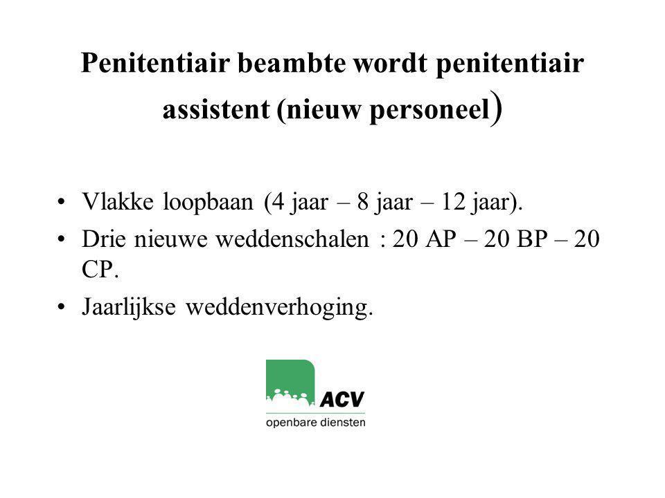 Penitentiair beambte wordt penitentiair assistent (nieuw personeel ) Vlakke loopbaan (4 jaar – 8 jaar – 12 jaar).