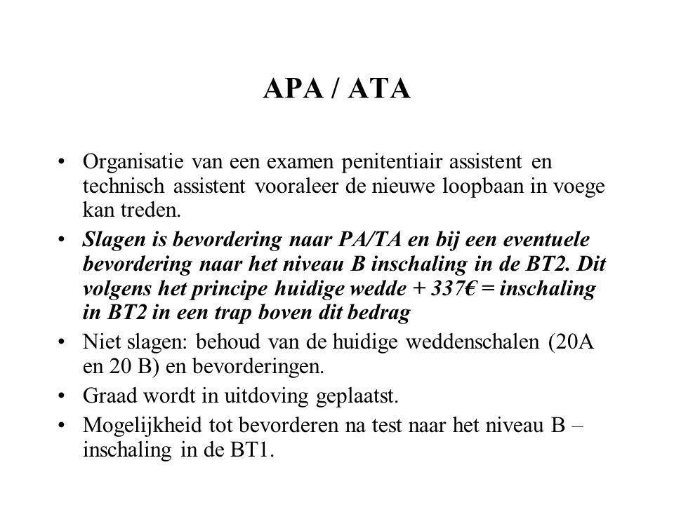 APA / ATA Organisatie van een examen penitentiair assistent en technisch assistent vooraleer de nieuwe loopbaan in voege kan treden.