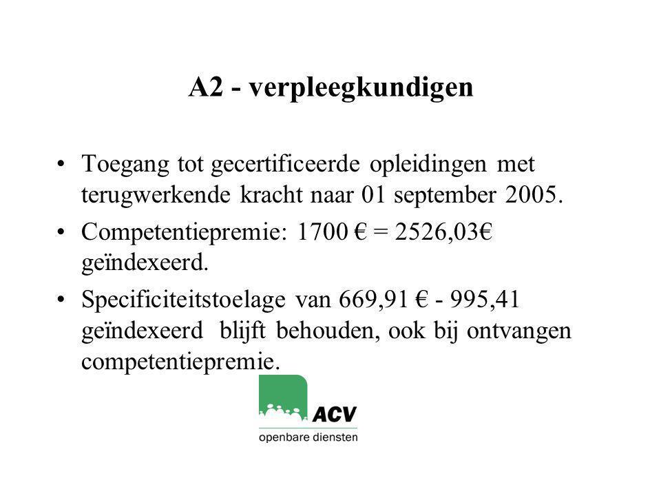 A2 - verpleegkundigen Toegang tot gecertificeerde opleidingen met terugwerkende kracht naar 01 september 2005.