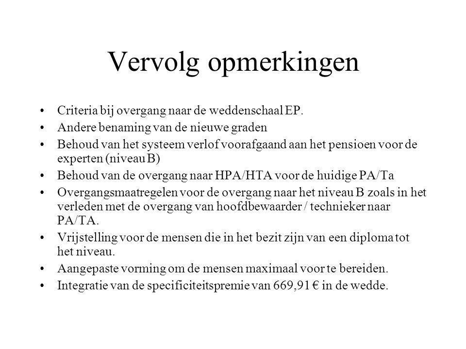 Vervolg opmerkingen Criteria bij overgang naar de weddenschaal EP.