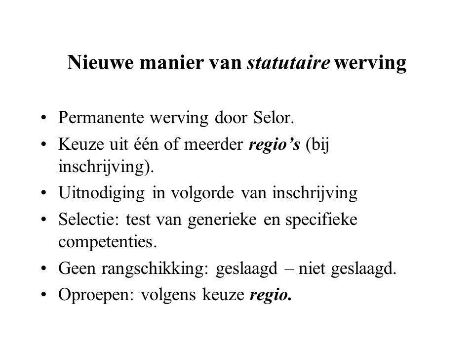Nieuwe manier van statutaire werving Permanente werving door Selor.