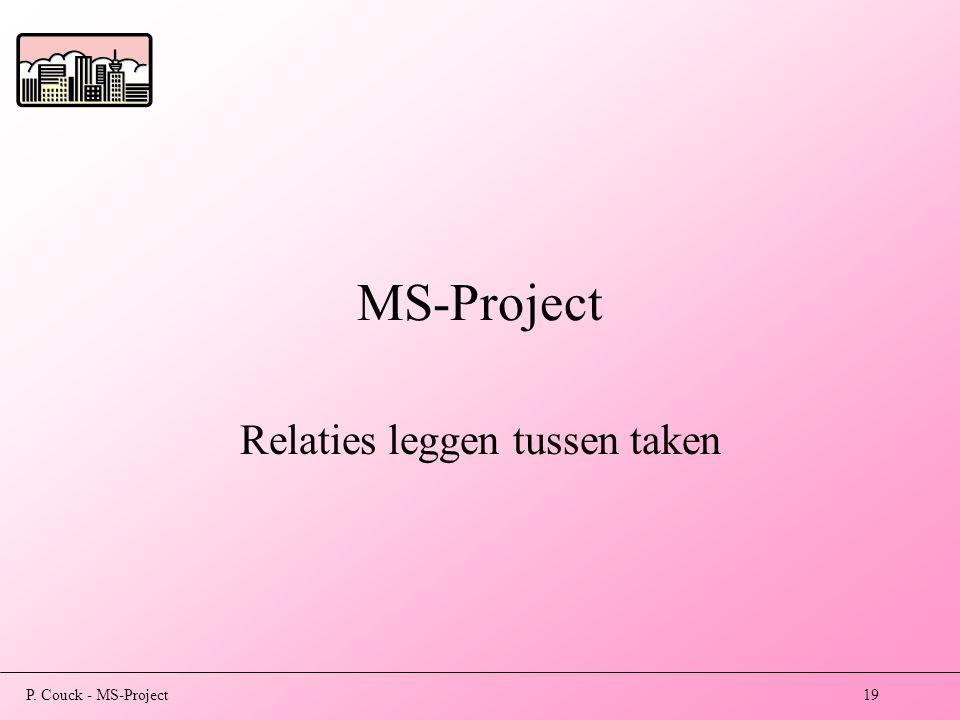 P. Couck - MS-Project19 MS-Project Relaties leggen tussen taken