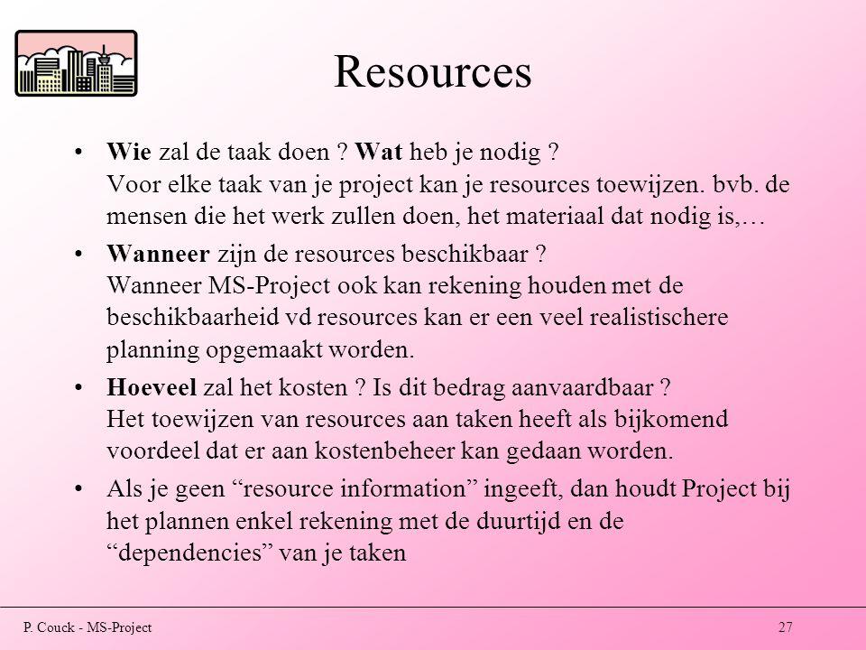 P.Couck - MS-Project27 Resources Wie zal de taak doen .